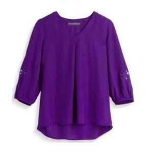 STITCH FIX Brixon Ivy Elmar 3/4 sl cut-out blouse
